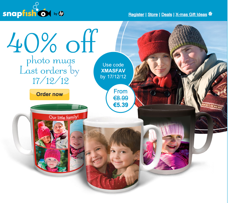 Snapfish Ireland - 40% off photo mugs